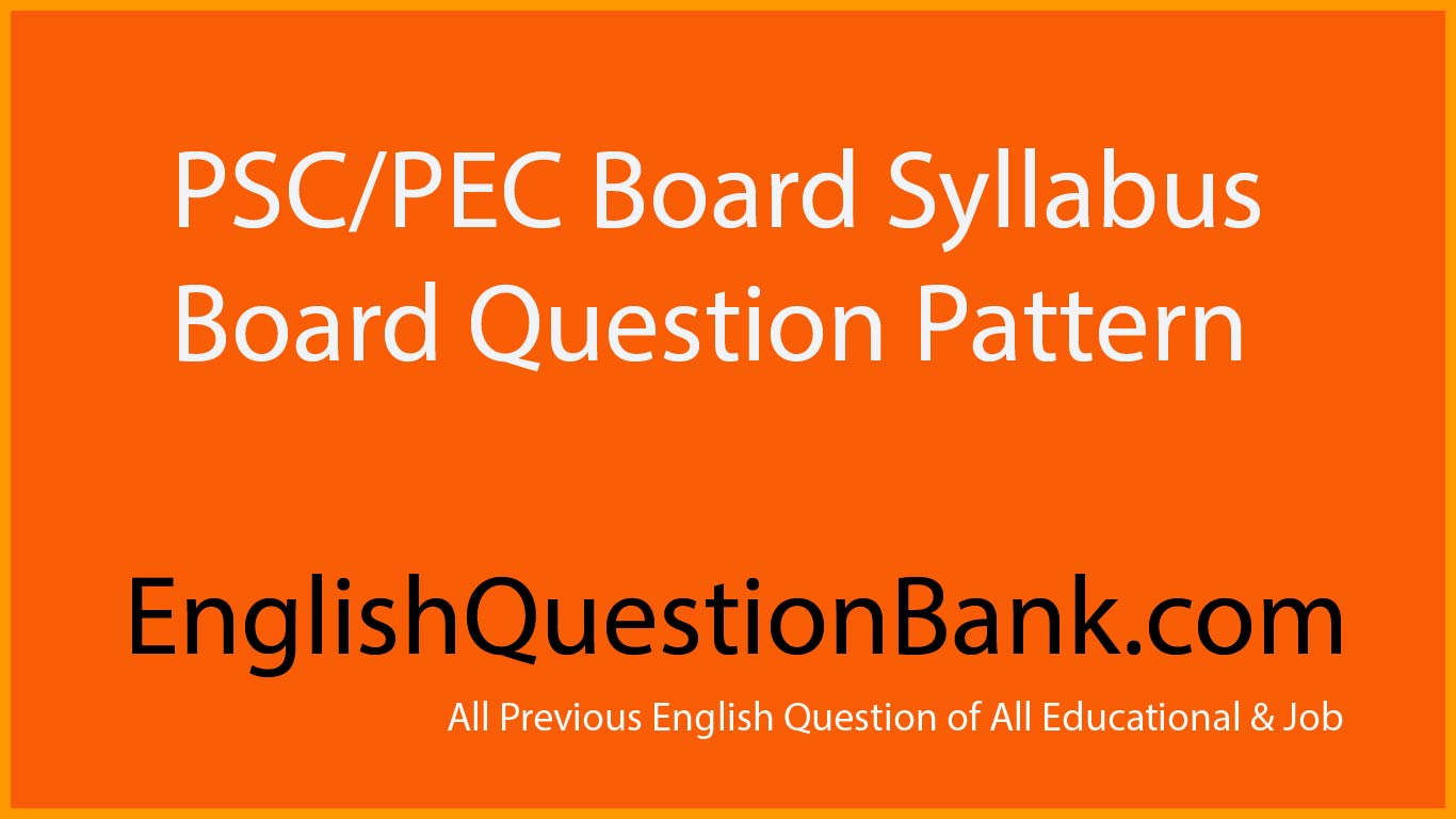 English Question Bank for PSC English Question Pattern